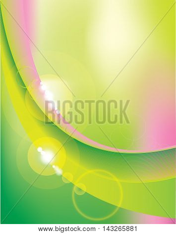 Abstract lines with refreshing contrast colours of light green and pink