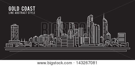 Cityscape Building Line art Vector Illustration design - Gold coast city