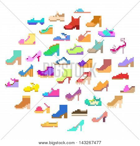 Big set of 40 various types of fashionable woman's shoes for any season. Collection of stylish trendy girl footwear:wedges boots sandals loafers heels keds flats pumps sneakers flip-flopsetc
