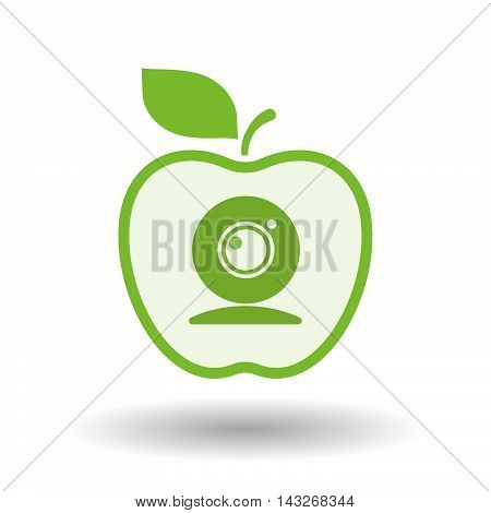 Isolated  Line Art Apple Icon With A Web Cam