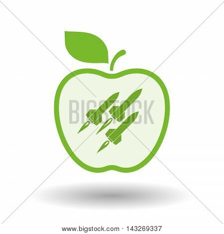 Isolated  Line Art Apple Icon With Missiles