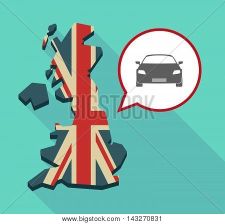 Long Shadow United Kingdom Map With A Comic Balloon And A Car