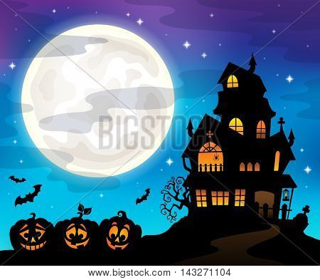 Haunted house silhouette theme image 6 - eps10 vector illustration.