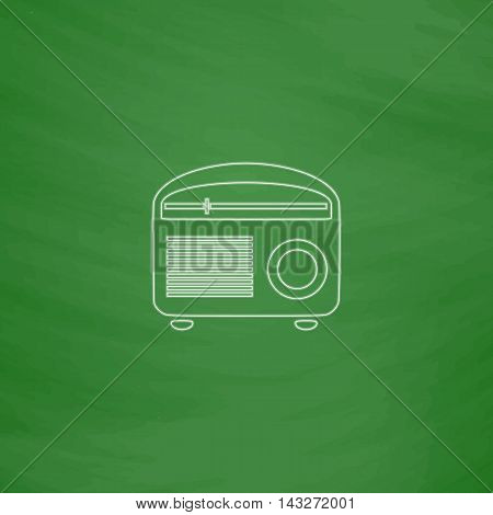 retro radio Outline vector icon. Imitation draw with white chalk on green chalkboard. Flat Pictogram and School board background. Illustration symbol