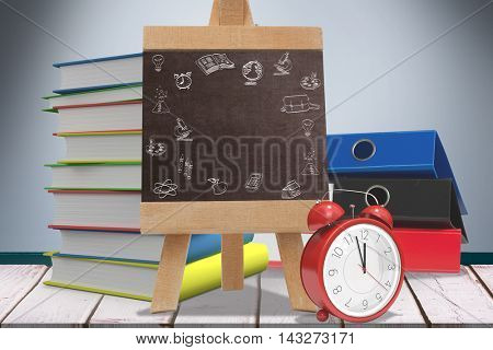 School doodles against composite image of black board Composite image of black board against wooden planks