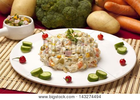 Potato Salad With Vegetables And Mayonnaise. Vegetables Background.