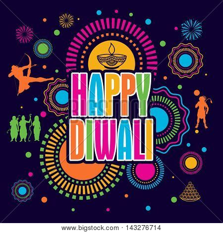 Colorful festive background with stylish text Happy Diwali and other elements, Elegant Poster, Banner or Flyer design, Creative vector illustration for Indian Festival celebration.