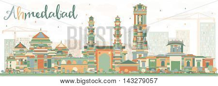 Abstract Ahmedabad Skyline with Color Buildings. Vector Illustration. Business Travel and Tourism Concept with Historic Buildings. Image for Presentation Banner Placard and Web Site.