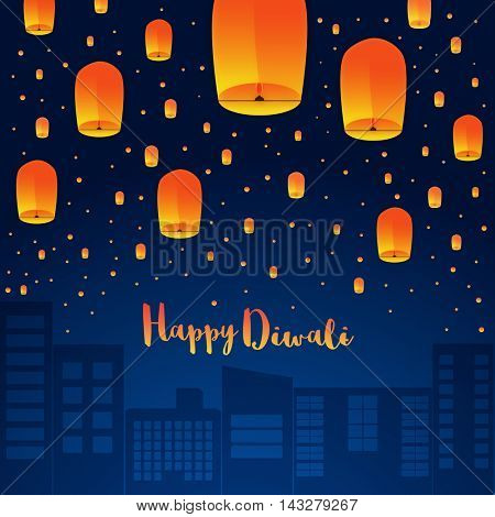 Happy Diwali Holiday background with sky lanterns floating over cityscape, Indian Festival of Lights celebration concept, Creative vector illustration.