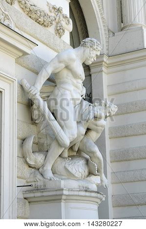 The statue of Hercules in Hofburg Palace in Vienna