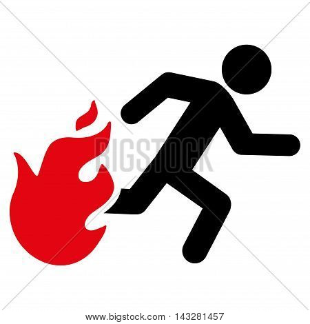 Fired Running Man icon. Glyph style is bicolor flat iconic symbol with rounded angles, intensive red and black colors, white background.