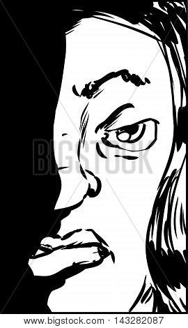 Outlined illustration of sneering Hispanic female looking straight ahead poster