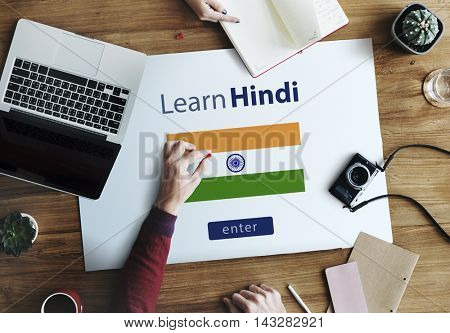 Learn Hindi Language Online Education Concept