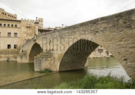 Stone bridge Valderrobres in Teruel, Aragon, Spain.