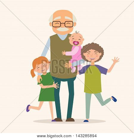 Grandfather with her grandchildren. Vector illustration in cartoon style