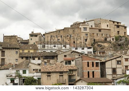 Houses in Beceite in Teruel, Aragon, Spain.