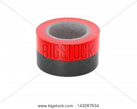Adhesive red, black insulation tape coils, isolated on white background