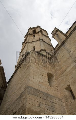 The bell tower of Cretas in Teruel, Aragon, Spain.