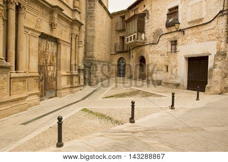 Church Square in Cretas in Teruel, Aragon, Spain.