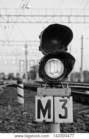 Semaphore On The Railway In The Summer Time Black And White