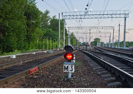 Red Semaphore Signal On Railway In Summer
