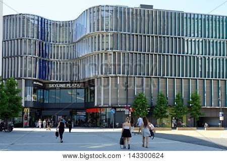 FRANKFURT AM MAIN GERMANY - AUGUST 7 2015: Skyline Plaza shopping and wellness center with roof garden a fitness centre numerous restaurants and shops and a multi-storey car park.