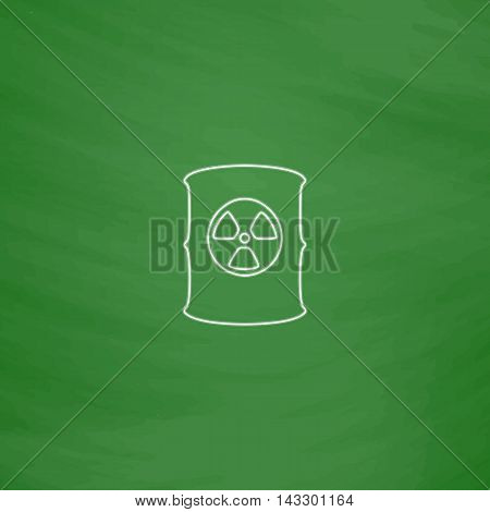 Radioactive waste Outline vector icon. Imitation draw with white chalk on green chalkboard. Flat Pictogram and School board background. Illustration symbol