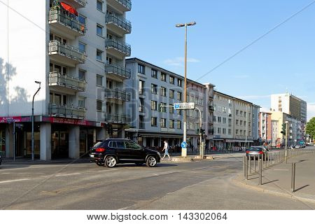 FRANKFURT AM MAIN GERMANY - AUGUST 7 2015: Berliner Street a major street in the city centre built after the Bombing of Frankfurt am Main in World War II along the route of the old Schnurgasse.
