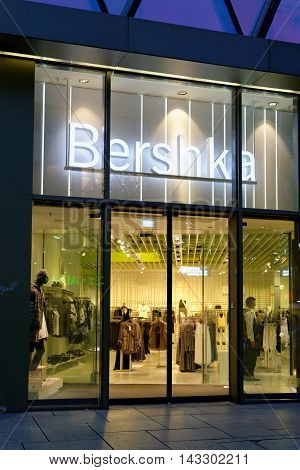 FRANKFURT AM MAIN GERMANY - AUGUST 7 2015: Bershka store on Zeil at night. A Spanish fashion retailer part of the Spanish Inditex group aimed at a young target market.