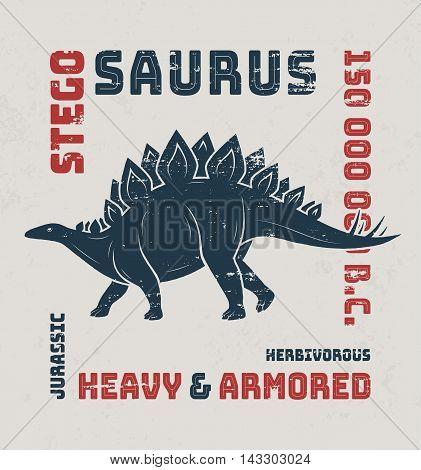 Stegosaurus T-shirt Design, Print, Typography, Label. Vector Illustration.
