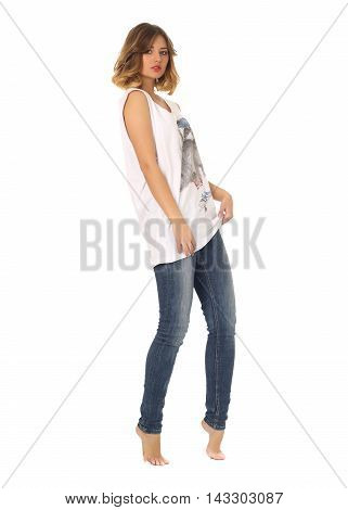 Portrait Of Stylish Model In Blue Jeans