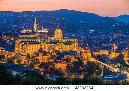 Castle of Budapest at night in Hungary, Europe