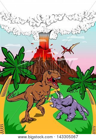 Dinosaurs in ancient nature poster with t-rex and triceratops on background of eruption volcano vector illustration