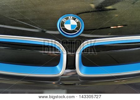 MUNICH GERMANY - 4 AUGUST 2015: Logo of BMW photo made at BMW World showroom in Munich Germany.