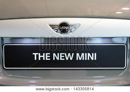 MUNICH GERMANY - 4 AUGUST 2015: Mini cooper at the BMW Welt a customer experience and exhibition facility of the BMW AG Munich Germany