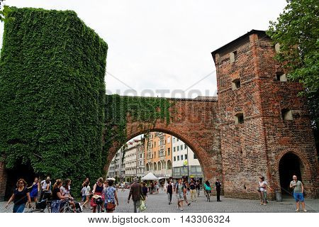 MUNICH GERMANY - 4 AUGUST 2015: Front view of Sendlinger Tor and the begining of Sendlinger Strasse.