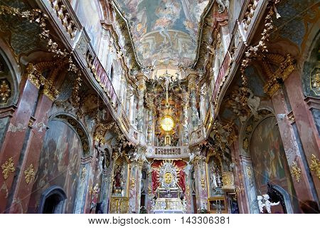 MUNICH GERMANY - AUGUST 4 2015: Interior of Asamkirche(St. Johann Nepomuk). The church was built in 1733-1746 and is considered to be one of the main representatives of the southern German Late Baroque.