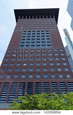 FRANKFURT AM MAIN GERMANY - AUGUST 6 2015: The highrise buidling Japan Center - 115 meter high 27 floor office tower in classical Japanese design.