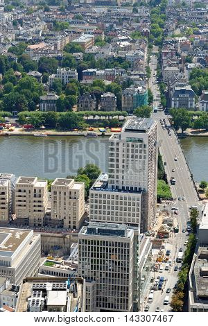 Aerial view of Untermain bridge at the river Main from the observation platform of Main Tower in Frankfurt am Main Germany.