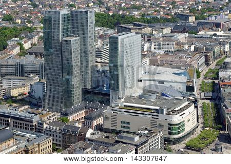 FRANKFURT AM MAIN GERMANY - AUGUST 6 2015: The Palais Quartier a comlex of four buildings - MyZeil the shopping mall Palais Thurn und Taxis a former palace Nextower an office building and Jumeirah Frankfurt a hotel.