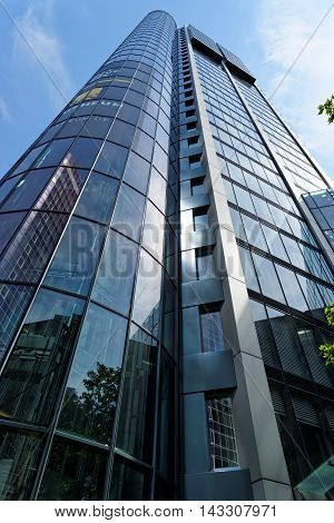 FRANKFURT AM MAIN GERMANY - AUGUST 6 2015: Eurotheum on Neue Mainzer street a 31-storey 110 m skyscraper with office and residential space.