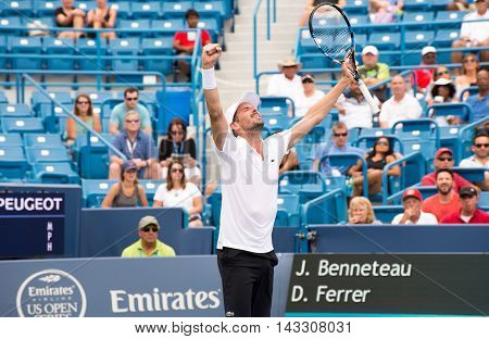 Mason Ohio - August 15 2016: Julien Benneteau in a first round match at the Western and Southern Open in Mason Ohio on August 15 2016. Benneteau won the match upsetting David Ferrer.