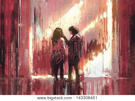 young couple in love outdoor, illustration, digital painting