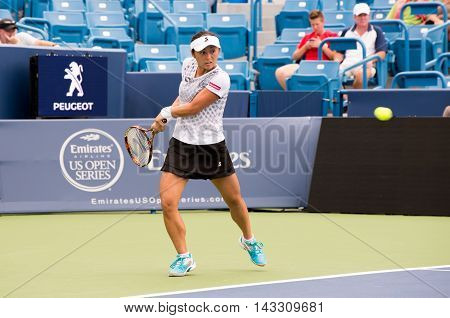 Mason Ohio - August 14 2016: Misaki Doi in a qualifying match at the Western and Southern Open in Mason Ohio on August 14 2016.