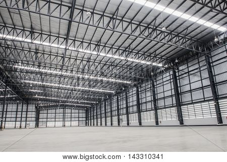 New empty modern storehouse background for industry
