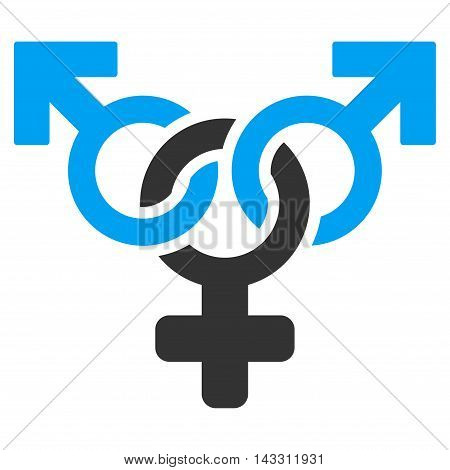 Polyandry icon. Glyph style is bicolor flat iconic symbol with rounded angles, blue and gray colors, white background.