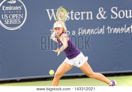 Mason Ohio - August 13 2016: Daria Gavrilova in a qualifying match versus Mona Barthel at the Western and Southern Open in Mason Ohio on August 13 2016.