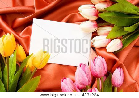Envelope and flowers on the satin background poster