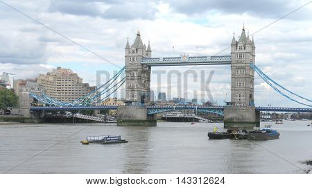 Tower Bridge of London, England, is a historical landmark of the city.