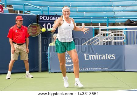 Mason Ohio - August 15 2016: Jelena Ostapenko in a first round match at the Western and Southern Open in Mason Ohio on August 15 2016.